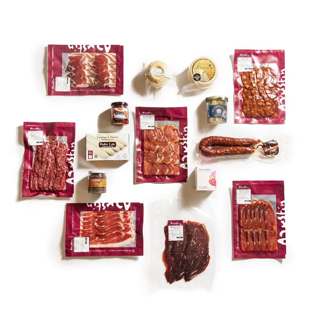 Envasados al vacío de 200 g de jamón, embutidos naturales, botes de conserva,mermeladas y chorizo.
